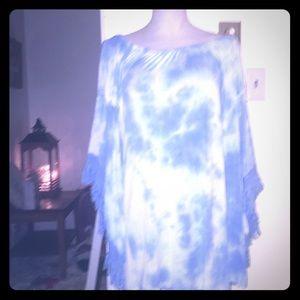Dresses & Skirts - Sky Blue & White Tie Dye Mini. Dress with fringe.
